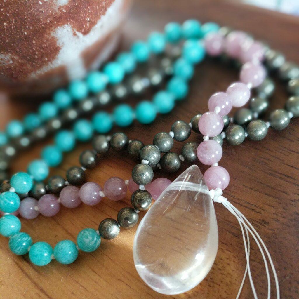 mala amazonite quartz rose cristal roche annegaelle